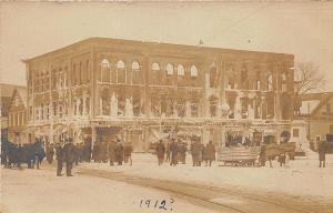 Rochester NH Bank and Store Fire in 1912 RPPC Postcard