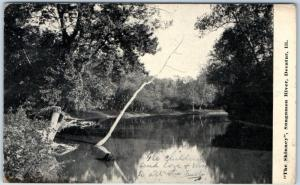 Decatur, Illinois Postcard The Shinney Sangamon River Scene w/ 1911 Cancel