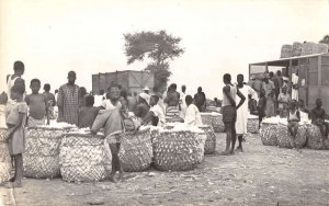 Fort Lamy Chad Africa Cotton Market Real Photo Vintage Postcard AA20302