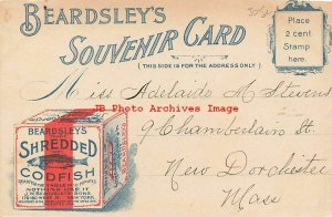 Advertising Postcard, Beardsley's Souvenir Card, Shredded Codfish, NYC Fifth Ave