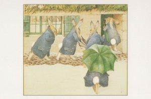 The Arrival Rabbits Beatrix Potter Victorian 1890 Painting Postcard