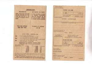 Canada Post, C.O.D., Notice with Fees, 1964