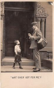 RPPC Boy Asks Postman: Wat' Cher Got Fer Me? Full Bag~Pillar Post Office c1906