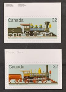 Train Stamps On Postcards - Canada Set Of 4 - Unused