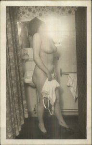 Nude Woman Holding Lingerie Bathroom Mirror c1920s-40s Real Photo Postcard