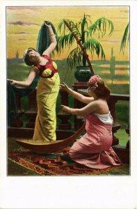 PC CPA ARABIAN TYPES AND SCENES, DANCER LADIES, Vintage Postcard (b17426)