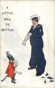 WWI Anti-German Propaganda Big English Sailor & Tiny German Kaiser PC jrf