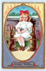 Postcard Easter Happy Easter Rabbits Girl White Dress Red Bow with Eggs 1911 I4