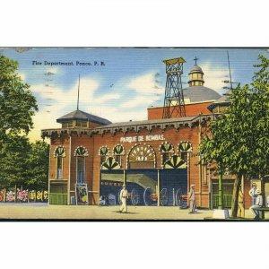 Tichnor Quality Views Linen Postcard 'Fire Department, P.R.'