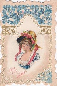 VALENTINE´S DAY : Female Head portrait , 1890s bi-fold card