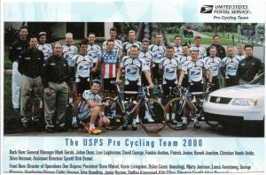U.S.P.S. Pro Cycling Team 2000 Photo Post Card - Used