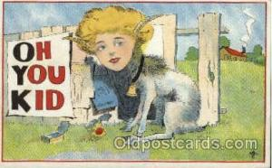 Oh You Kid, Fantasy Postcard Post Card writing on back