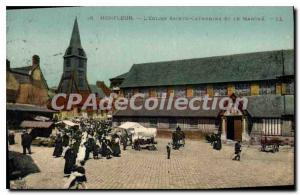 Postcard Old Honfleur Saint Catherine's Church and the Power