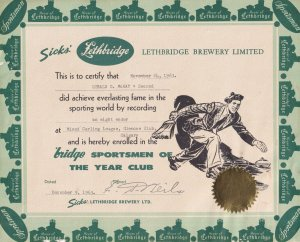 CERTIFICATE; Lethbridge Brewery Limited, Cetificate Of Sporting World Record,...