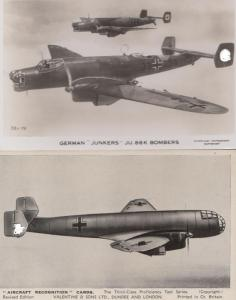 Junkers JU86 German Bomber Real Photo & Aircraft Recognition 2x Postcard s