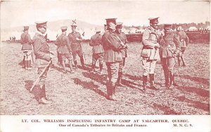 World War 1 Post Card Lt. Col. Williams Inspecting Infantry Camp One of Canad...