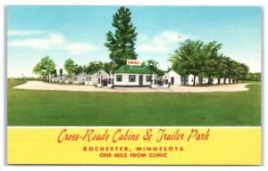 Vintage Cross-Roads Cabins & Trailer Park, Rochester, MN Postcard