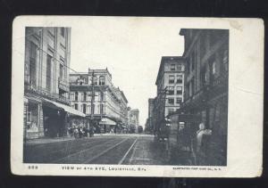 LOUISVILLE KENTUCKY DOWNTOWN 4TH AVENUE STREET SCENE VINTAGE POSTCARD KY.