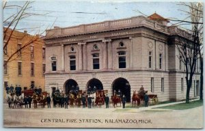 1911 KALAMAZOO Michigan Fire Department Postcard CENTRAL FIRE STATION Engine