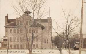 H61/ Toledo Ohio RPPC Postcard c1910 Saint Charles School Building 5