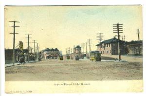 Forest Hills Square MA Trolley Railroad Station Train Depot Postcard
