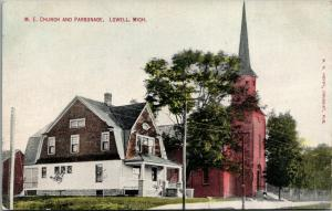 Lowell MI United Methodist Episcopal Church & Parsonage w/Gambrel Roofs~c1910 PC