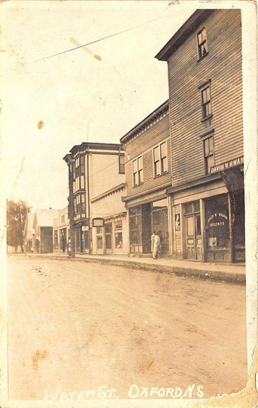 Oxford Nova Scotia Water Street View Storefronts Grocery Store RPPC Postcard