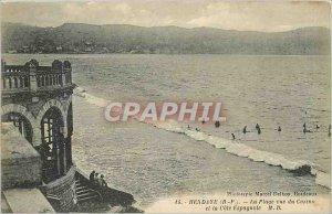 Old Postcard Hendaye B P range view of the casino and the Spanish coast