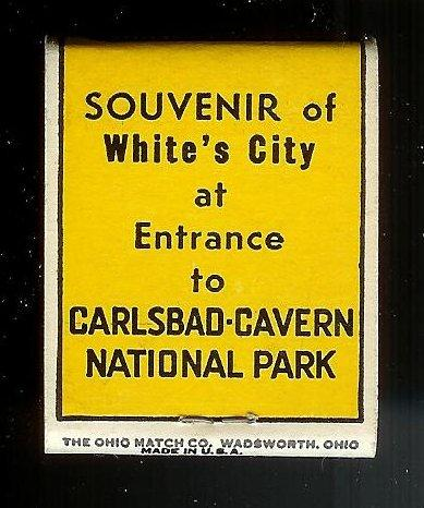 CARLSBAD CAVERNS Twin Domes 1940's Full Unstruck Matchbook