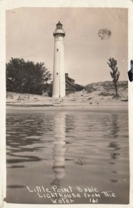 RP: Little Point Sable LIGHTHOUSE , Lake Michigan , 1910-30s