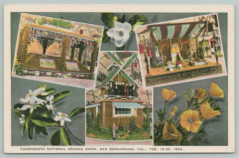 San Bernardino California~14th National Orange Show~Multi-View 1924 Postcard PC