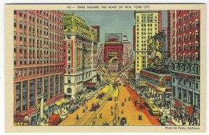 1940's Times Square, New York City, NY Chevy Planters Linen Postcard
