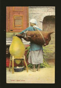 Vintage Cairo Water Carrier Egypt Color Postcard