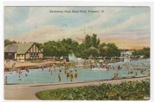 Swimming Pool Read Park Freeport Illinois 1949 postcard