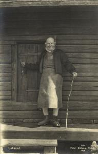 sweden, LEKSAND, Old Man in front of House (1926) RPPC