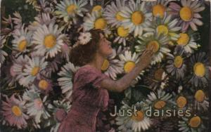 Flowers Beautiful Girl Picking Daisies 1915
