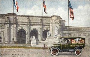 Champion Spark Plugs Adv Truck Washington DC Union Station c1910 Postcard