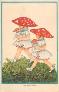 Girls bringing luck mushrooms dolls mushroom fantasy vintage postcard