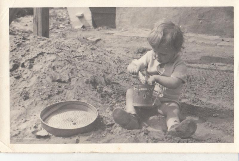 RPPC CHILDHOOD GAMES LITTLE BOY SAND PLAY 1942 REAL PHOTO POSTCARD
