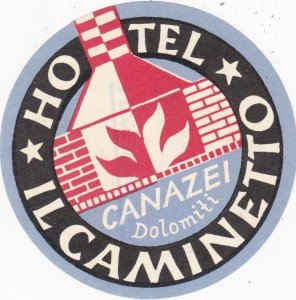 Italy Canazei Hotel Caminetto Vintage Luggage Label sk2251