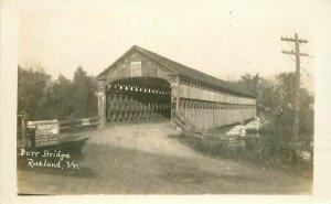 Rutland Vermont Dorr Covered Bridge RPPC Photo 1940s Postcard 21-7536
