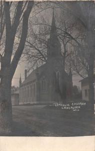 Lancaster Wisconsin Catholic Church Real Photo Antique Postcard K100250