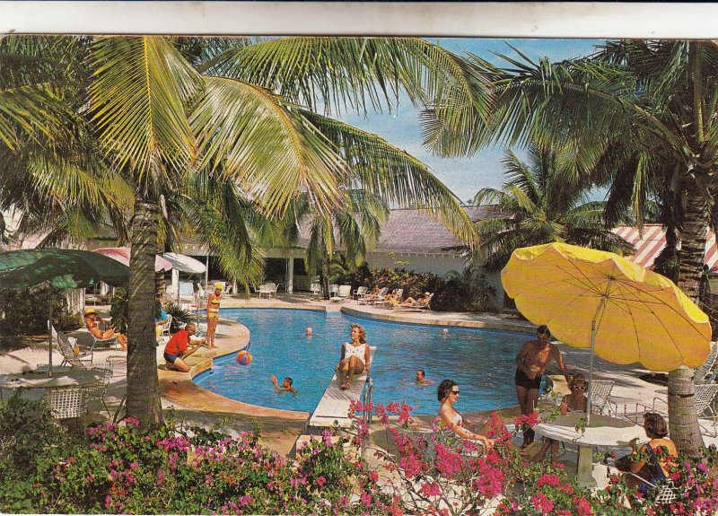 P1964 vintage postcard lighthouse club swim pool androstown bahamas used stamp