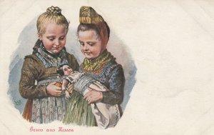 Gruss aus Hessen , Germany , 1890s ; 2 girls & doll