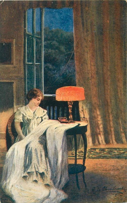 A. K. Chmilewski - Lady In Thoughts of him, lamp vintage 1918 art postcard