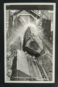 Mint Vintage Log Washer at McCloud Mills B1440 Real Photo Postcard RPPC