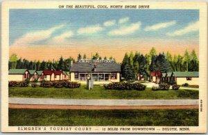 Duluth, Minn. Postcard ELMGREN'S TOURIST COURT North Shore Drive Roadside Linen