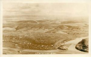 1930s RPPC Postcard Birdseye Town View Lewiston ID & Bridges Nez Perce County