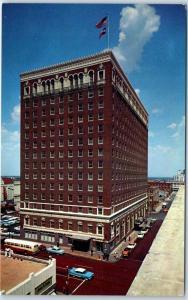 Fort Worth, Texas Postcard HOTEL TEXAS Bird's-Eye Street View 1950s Cars Unused