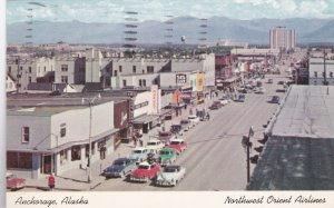 Alaska Anchorage Main Street Business Section Old Cars 1955 sk3000